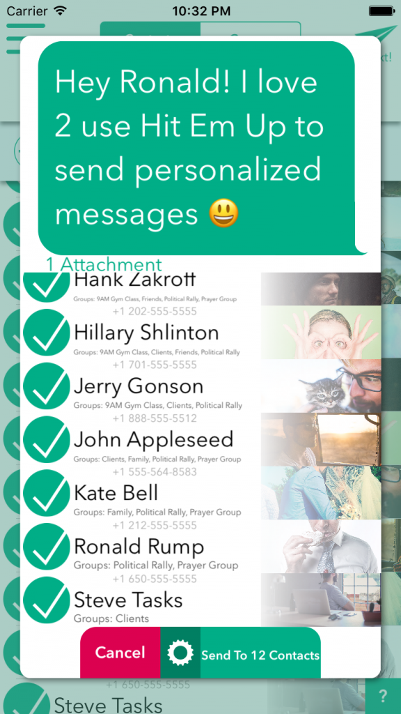 Hit Em Up App showing you what each message will look like individually to each person right before you send a mass text on iphone without it being a group text