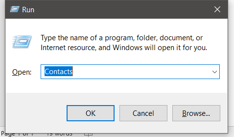 Open the contacts app on your Windows Computer